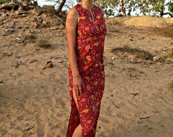 SALE- 40% Off! Red Long Ibiza Summer Dress with Double Side Split made in Pure cotton and Traditional Block Print Fabric