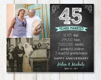 45th anniversary gift for wife husband or best friends - 45th anniversary parents gift - chalkboard sign photo collage - DIGITAL FILE!