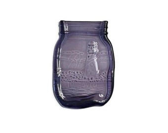 Melted Mason Jar in Royal Purple with Elegant Kiln-Carved Lighthouse Design - Spoon Rest - Butter Dish - Soap Dish