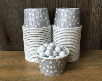Silver Paper Snack Cups - Set of 48 - Polka Dot Candy Cup - Birthday Party - Mini Ice Cream Cup - Paper Nut Cup - Same Day Shipping