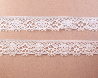 """Ivory Lace Sewing Trim - 10 Yards of  5/8"""" Ivory Double Edge Scalloped Lace - 15 mm Lace - Thin Ivory Trim #12-05-14"""