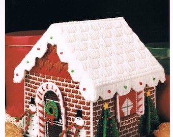 PLASTIC CANVAS -  Gingerbread House Candy Box Plastic Canvas Pattern - Christmas Pattern - Christmas Plastic Canvas Pattern