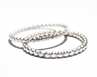 Sterling silver bubble rings, oxidized rings, 2mm hammered friendship rings, beaded rings, set of two handmade stacking rings