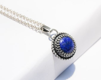 Handmade Lapis Lazuli pendant, oxidized sterling silver, 14mm cabochon, wire pendant, crown bezel, gallery wire setting