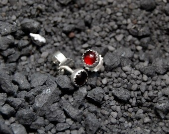 Handmade red Garnet stud earrings, sterling silver, 4mm Garnet cabochon, red studs, serrated bezel, post earrings