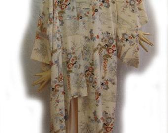 Japanese silk kimono with floral print of cedar trees & wisteria