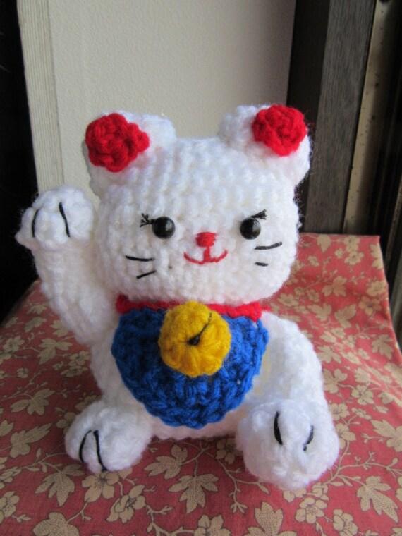 Maneki Neko Amigurumi Patron : Items similar to A crochet stuffed animal cat, amigurumi ...