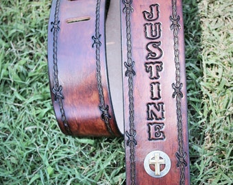Personalized GUITAR STRAP, Leather Guitar Strap, Christian gospel Guitar strap,Musician gift, Made in the USA, Engraved Free!