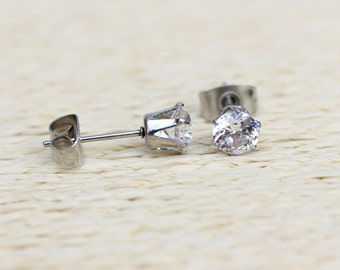 Natural White Sapphire and surgical steel stud earrings - Available in 3mm, 4mm and 5mm sizes