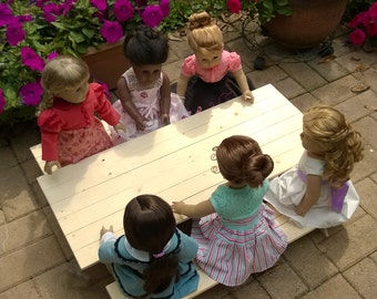 Doll PICNIC TABLE - Extra Large (Seats six dolls) for American Girl® or 18-inch Dolls with one picnic table and two separate benches