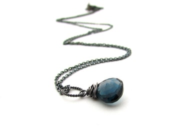 London blue topaz necklace, December birthstone,  oxidize silver wire wrap pendant, delicate London blue topaz jewelry, blue stone necklace
