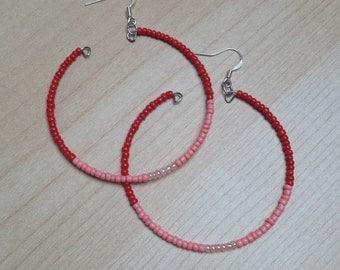 Coral Hooped drop earrings