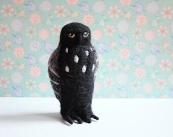 Black owl - gifts baby owl fabric figurine felt nursery decor sculpture statue barn owl bird ornament decoration