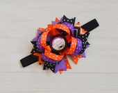 Baby's first Halloween headband, 1st halloween bow for babies, girls first halloween headband, ,hallloween headband bow