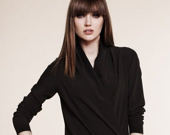 Black Bodysuit/ Black Leotard/ Wrap Blouse TOP/ Black Wrap/ Minimalist Top