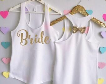 Bride Tank Top with Bow. Bridal Shirt. Bridal Tank Top. Bachelorette Shirt. Bachelorette Tank. Wedding Tank. Bride Shirt. Bride Glitter Top.