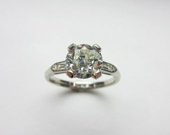 Vintage Platinum 1.77ct Old European Cut Diamond Engagement Ring Sz 7.25