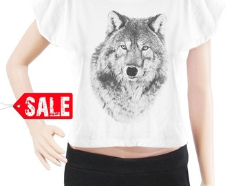 Wolf Tshirt animal tshirt women tshirt crop top crop tee size S