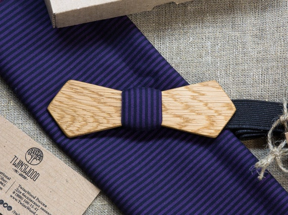 Oak Wood bowtie  Retro + color pocket square Personal engraving wooden bow ties. Men Accessories. 100% hand made. Best xmas /bday gift.