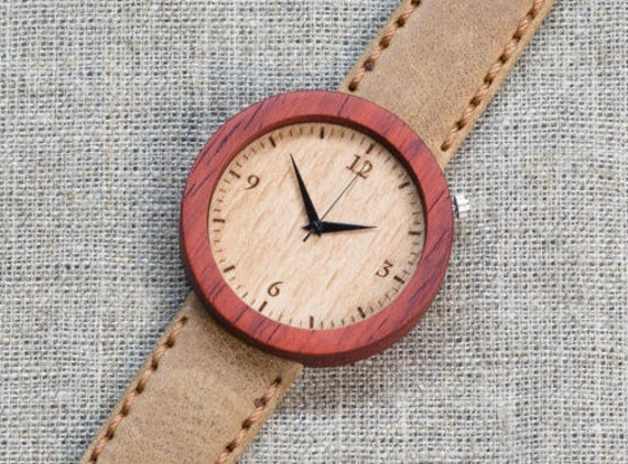 African Padauk minimal wood watch , Majestic Watch,  Sand Genuine Leather strap + Any Engraving / Gift Box. Anniversary  gift
