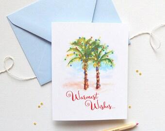 Beach Christmas Cards, Palm Tree Christmas Greeting Cards, Unique Beach Christmas Card Set of 8, Christmas Cards