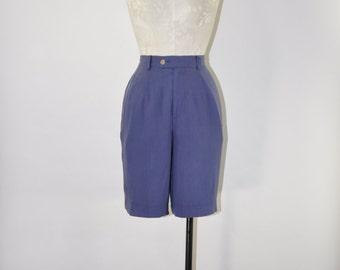 90s purple silk shorts / 1990s high waist shorts / vintage silk short pants