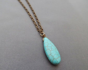 Long Bohemian Turquoise Necklace