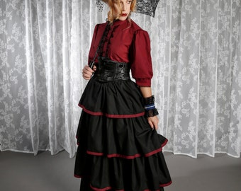 Victorian Skirt, Steampunk Skirt, Black Skirt with Red Trim, Ruffle Skirt, Vampire Costume, Layered Skirt, Maxi Skirt, Alternative Wedding