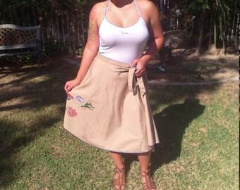 Wrap skirt,embroidered skirt,tan,seashell,skirt,shirley Gadol