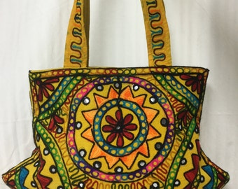 Free Ship,tote bag, Large ,Indian Tote, Embroidered ,Shoulder Bag, with Mirrors