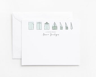 Personalized Flat Card Set of 12 | Custom Paper Airplane Notecards, Hand Illustrated Stationery