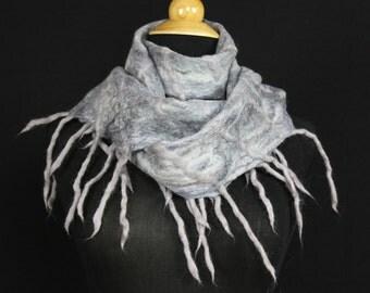 Merino Wool Silk Blend Cobweb Felted Scarf with wool fringe - Winter (70/30 merino silk)