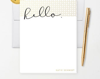 Personalized Note Pad // Hello or XOXO in Calligraphy with Faux Gold Foil Polka Dots // S120