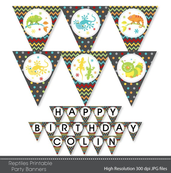 Reptiles Happy Birthday Party Banners Bunting By