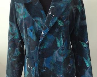 Jacket, jacket in Velvet, birds, Vintage Cacharel patterns, size 38/40