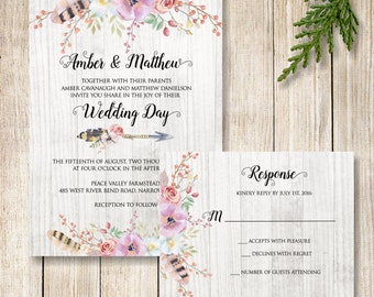 Boho Wedding Invitation, Boho Floral Wedding Invite and RSVP, Rustic Flowers and Feathers Wedding Suite, Flowers and Arrow Wedding Invite
