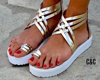 "Women Leather Sandal ""Chic Romance"", strappy sandals, genuine leather sandals, gold sandals"