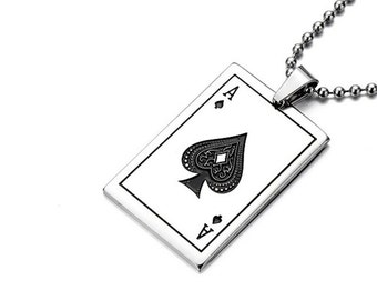 Silver & Black Stainless Steel Ace of Spades Playing Card Pendant with Necklace Link Chain