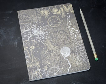 Neurons Softcover Notebook | Journal Nursing, Neuroscience, Brain Anatomy, Lined Recycled Paper, Nurse Gift, Medical, Vintage Science, Grad