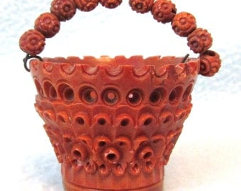 Rare Antique Collectible Hand Carved Coquilla Nut, Bucket Shape, Nut Bowl, Small Basket, Nut Beaded Handle, Charming Antique, Victorian