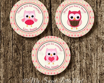 Owl sticker - owl party favor tag - owl printable - owl red birthday - owl party - owl label -  owl baby shower - owl cupcake topper