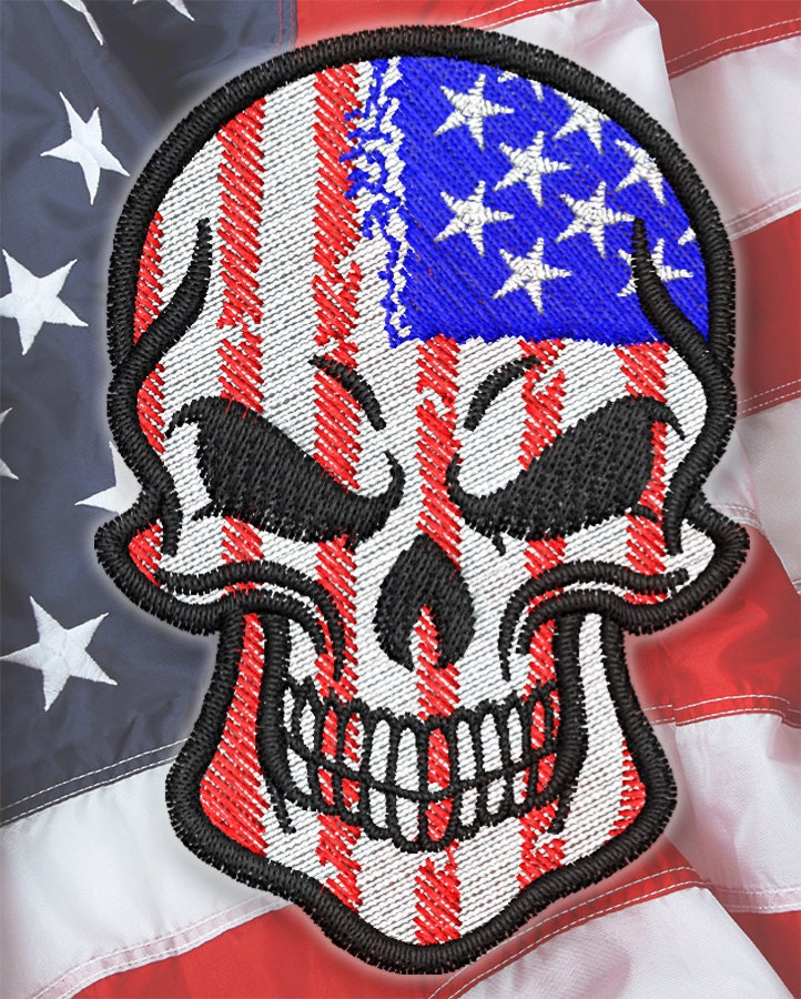 American Flag Skull By Embroidstock On Etsy