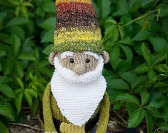 "Large Knitted Stuffed Amigurumi ""Gilbert""  the Gnome"