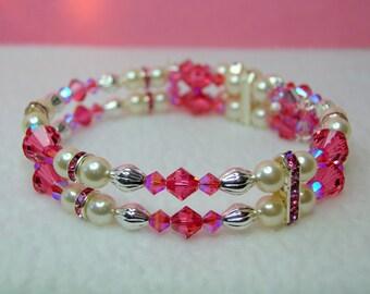 Indian Pink Crystal Memory Wire Bracelet