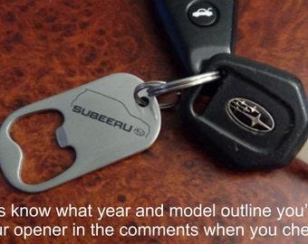 Stainless steel Subaru SuBEERu bottle opener