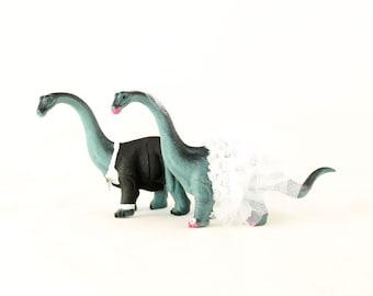 Brontosaurus Bride & Groom Wedding Cake Toppers