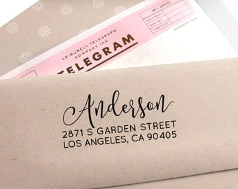 Custom Return Address Stamp with a fancy font for weddings, save the date , housewarming gift and as a customized gift for holidays