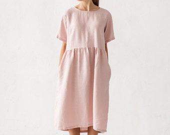 Linen dress, Dusty pink linen dress, Minimal linen dress, Linen tunic, Minimal linen tunic, Stone washed, Linen clothes, Loose dress