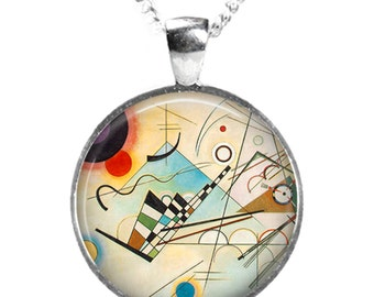 BAUHAUS PAINTING - Glass Art Pendant on Chain - Silver Plated (Picture Print Photo R16)