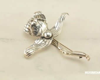 Antique Sterling Silver Taxco Hector Augiliar Lilly Brooch BIG Flower